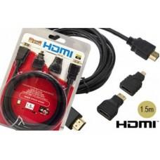 Кабель HDMI 3 в1 с переходниками micro/mini 1,5 метра