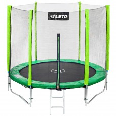 Батут Atleto 252 см с двойными ногами с сеткой зеленый