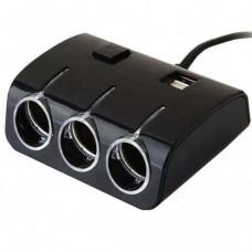 Автомобильный разветвитель тройник UKC 1506A + 2 USB 120W