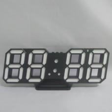 Электронные настольные LED часы с будильником и термометром Caixing CX-2218 чёрные (белая подсветка)