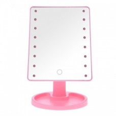 Зеркало для макияжа с LED подсветкой Large Led Mirror 16 LED Розовый