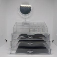 Акриловый органайзер для косметики с зеркалом Cosmetic Storage Box модель JN 878