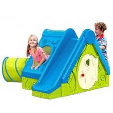 Детский игровой домик с горкой и туннелем